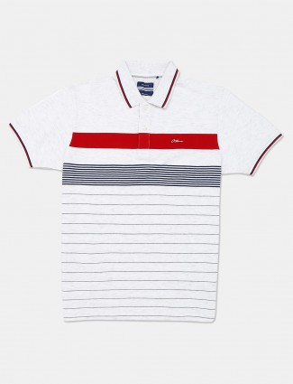 Octave white stripe casual wear polo t-shirt