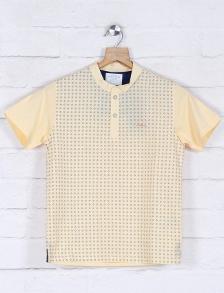 Octave yellow printed boys t-shirt