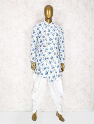 Off white and blue printed festive kurta suit
