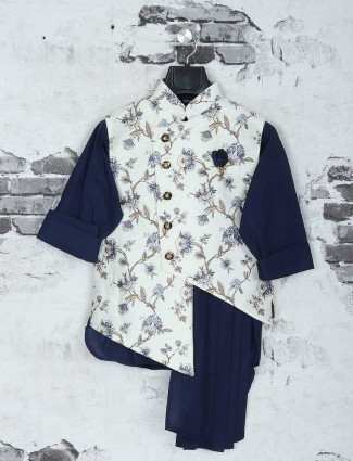 Off white and navy color waistcoat