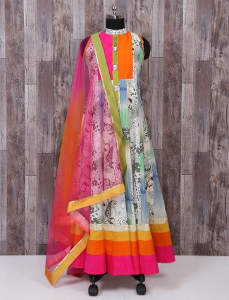 Off white color linen anarkali suit