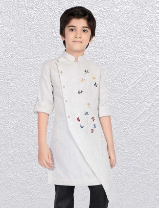 Off white cotton fabric short kurta