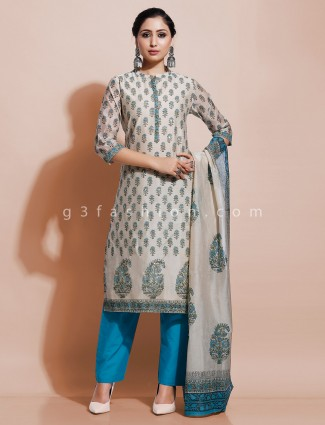 Off white cotton printed kurti set