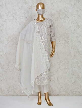 Light grey cotton silk pant style salwar suti for festivals