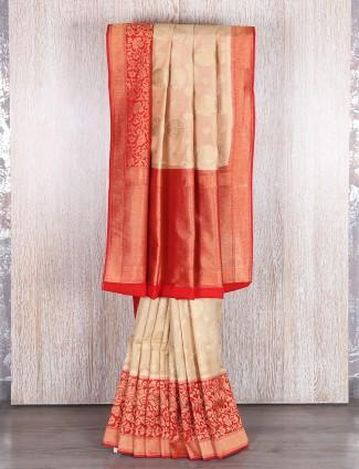 Off white deigner bhgalapuri silk saree