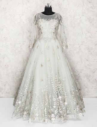 Off white designer net fabric gown