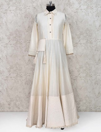 Off white floor length anarkali salwar suit in cotton silk