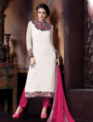 Off white georgette party wear semi stitched salwar suit