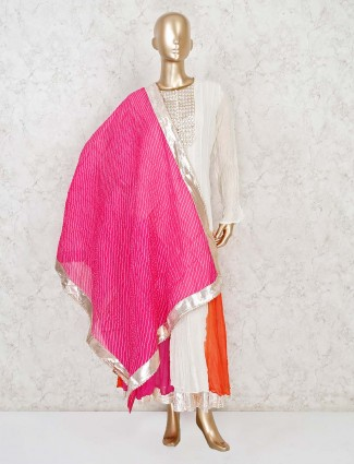 Off white georgette suit for festive