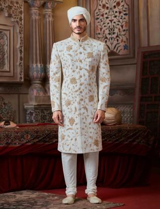 Off white groom sherwani in jute