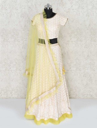 Off white lehenga choli in georgette for party