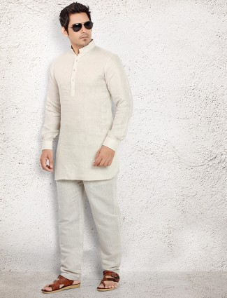 Off white linen pathani suit