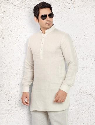 Off white linen short pathani