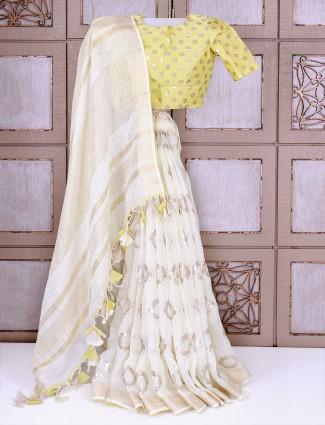 Off white maheshwari silk saree