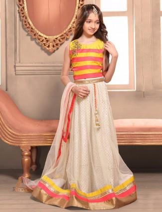 Off white net choli suit