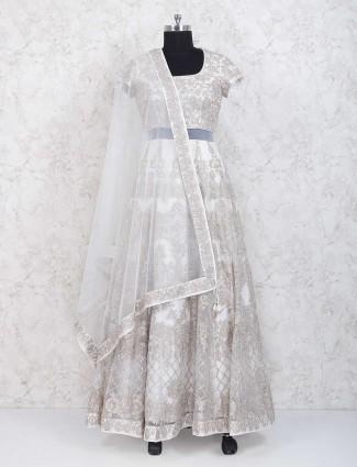 Off white net fabric anarkali salwar suit