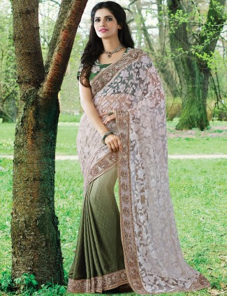 Off white olive half and half brasso party wear sari