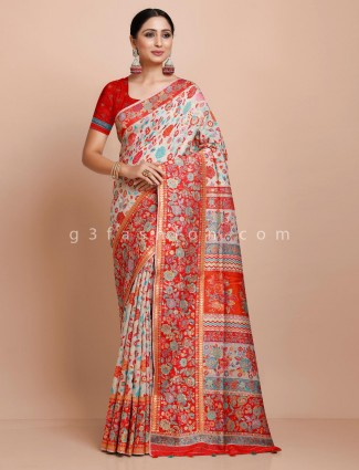 Off white pashmina silk saree for wedding