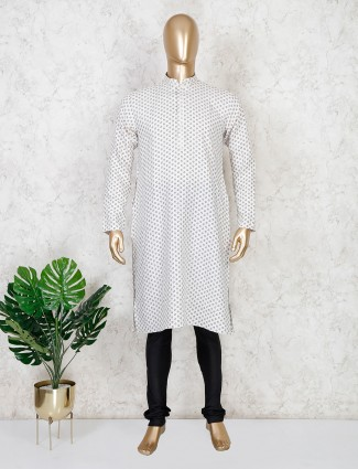 Off white printed cotton kurta suit festive wear
