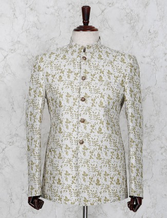 Off white printed pattern jodhpuri blazer