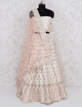 Off white raw silk semi stitched lehenga choli for wedding