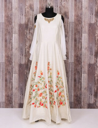 Off white silk alluring gown