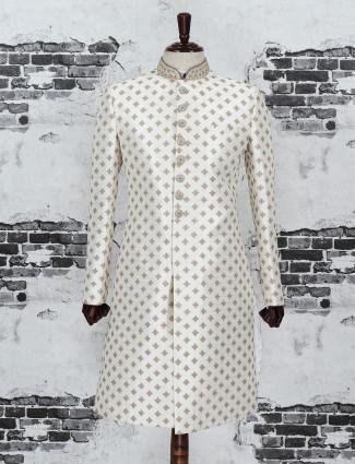 Off white silk fabric indo western