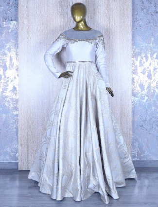 Off white silk gown