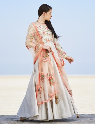 Off white silk party wear ready made anarkali suit