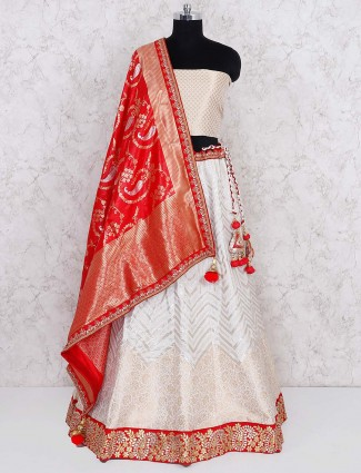 Off white silk semi stitched lehenga choli