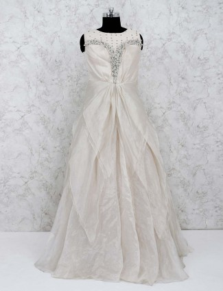 Off white smoke satin floor length gown
