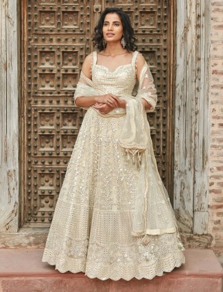 Off white wedding net lehenga choli design