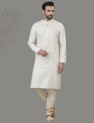 Off white zari woven cotton silk kurta suit