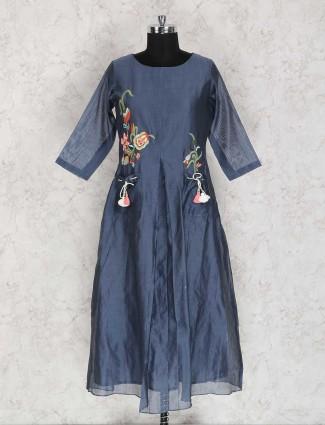 Blue color cotton silk exclusive kurti