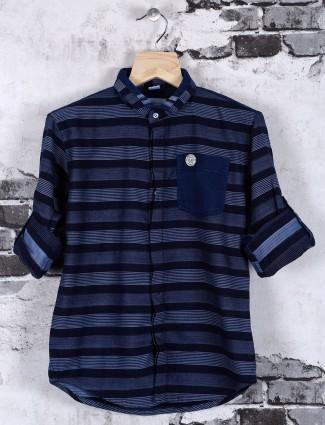OKIDS blue stripe shirt