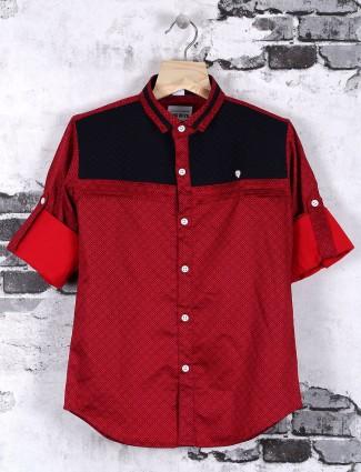 OKIDS cotton maroon casual shirt