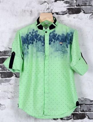 OKIDS green printed casual wear cotton shirt