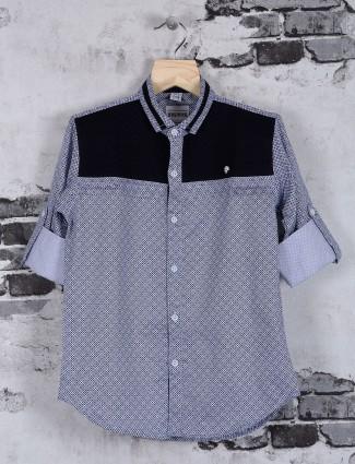 OKIDS grey cotton casual shirt