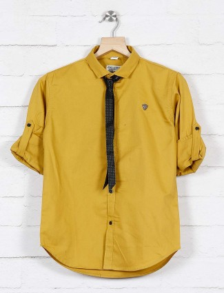 Okids mustard yellow solid cotton shirt