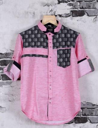 OKIDS pink plain printed casual shirt