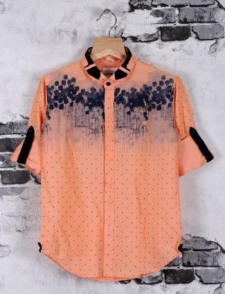 OKIDS printed orange cotton shirt