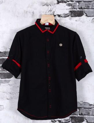 OKIDS solid black cotton shirt