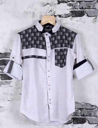 OKIDS white cotton casual shirt