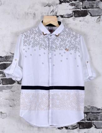 OKIDS white printed cotton casual shirt