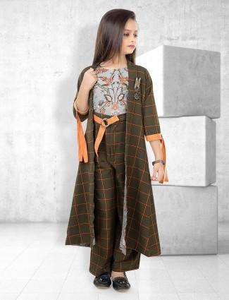 Olive and grey hue indo western salwar suit