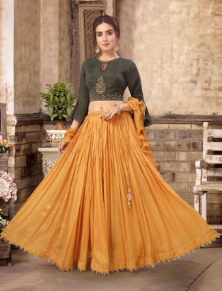 Olive and mustard yellow chiffon silk lehenga choli