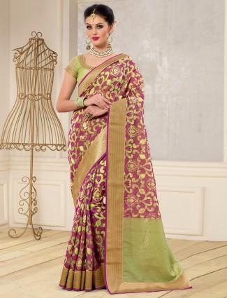 Olive and purple banarasi silk saree