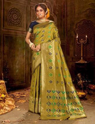 Olive banarasi soft silk saree for weddings