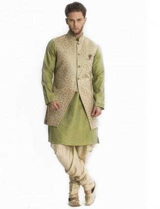 Olive beige silk jeckat style indo western