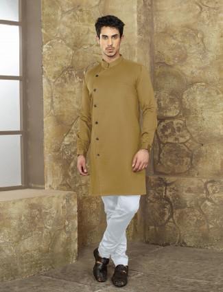 Olive color cotton fabric kurta suit
